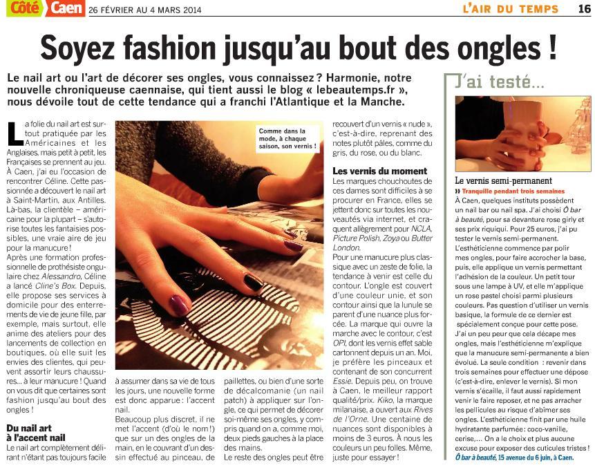 Côté Caen ongles vernis permanent o bar a beauté blog lebeautemps